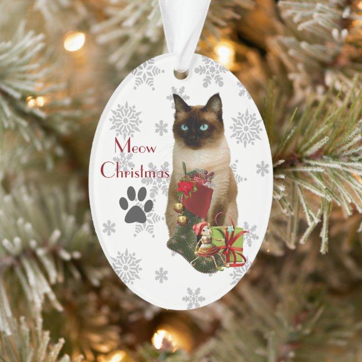 Cute Siamese Cat Christmas Ornament Zazzle Com