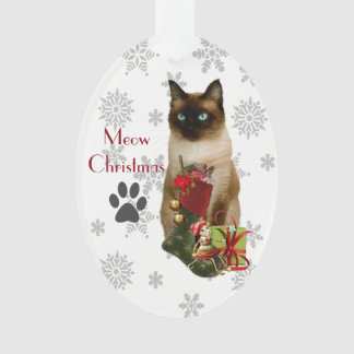 Cute Siamese Cat Christmas Ornament