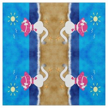 Beach Themed Cute Siamese Cat Pink Bonnet Summer Beach Fabric