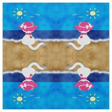Beach Themed Cute Siamese Cat Pink Bonnet Summer Beach Fabric 2