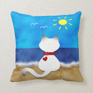Cute Siamese Cat Summer Ocean Beach Theme Pillow