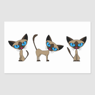 Cute Siamese Cat - Times Three Rectangular Sticker