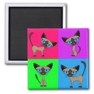 Cute Siamese Cats 2 Inch Square Magnet
