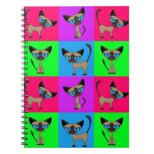 Cute Siamese Cats - Four Attitudes Spiral Notebook