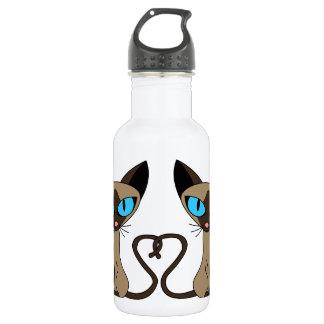 Cute Siamese Cats Tail Heart 18oz Water Bottle