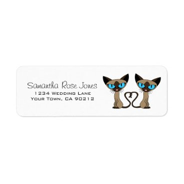 Valentines Themed Cute Siamese Cats Tail Heart Custom Address Label