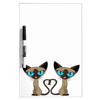 Cute Siamese Cats Tail Heart Dry-Erase Board