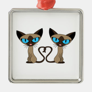 Cute Siamese Cats Tail Heart Metal Ornament