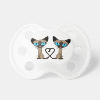 Cute Siamese Cats Tail Heart Pacifier