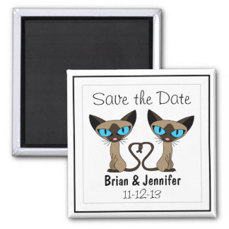 Cute Siamese Cats Tail Heart Wedding Save the Date 2 Inch Square Magnet
