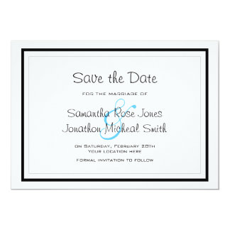 Cute Siamese Cats Tail Heart Wedding Save the Date 5x7 Paper Invitation Card