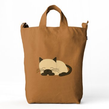 heartlocked Cute Siamese Sleeping Cat Duck Bag