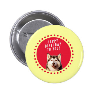 Cute Siberian Husky Dog Happy Birthday Button