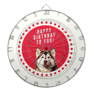 Cute Siberian Husky Dog Happy Birthday Dart Board