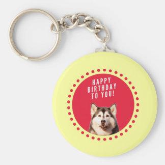 Cute Siberian Husky Dog Happy Birthday Keychain