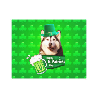 Cute Siberian Husky Dog Hat St. Patrick's Day Canvas Print