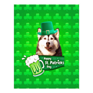 Cute Siberian Husky Dog Hat St. Patrick's Day Letterhead