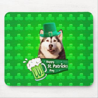 Cute Siberian Husky Dog Hat St. Patrick's Day Mouse Pad