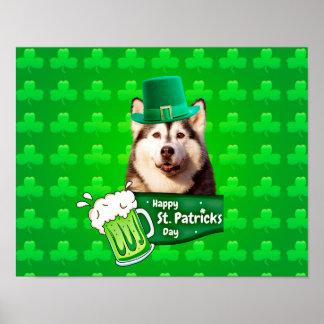 Cute Siberian Husky Dog Hat St. Patrick's Day Poster