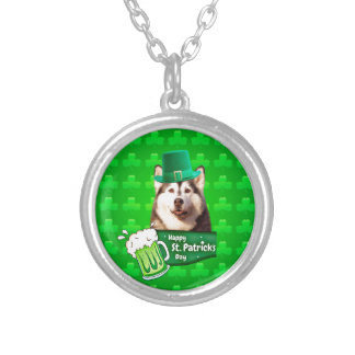 Cute Siberian Husky Dog Hat St. Patrick's Day Silver Plated Necklace