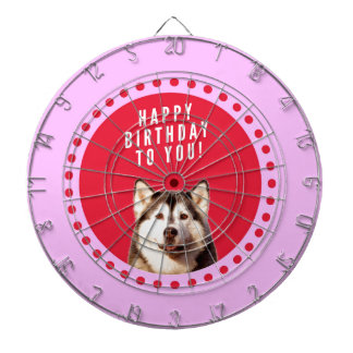 Cute Siberian Husky Dog Wishing Happy Birthday Dart Boards