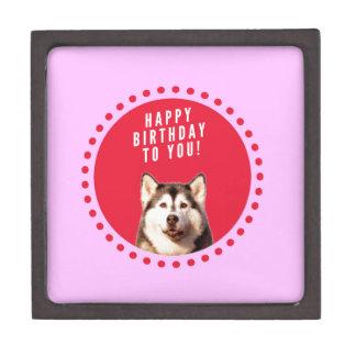 Cute Siberian Husky Dog Wishing Happy Birthday Jewelry Box