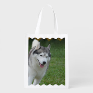 c391b3997f Cute Siberian Husky Grocery Bag