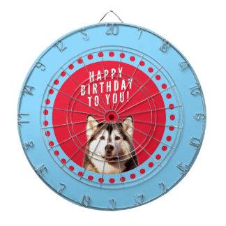 Cute Siberian Husky Happy Birthday blue red dots Dartboard