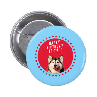 Cute Siberian Husky Happy Birthday blue red dots Pinback Button