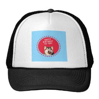 Cute Siberian Husky Happy Birthday blue red dots Trucker Hat