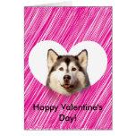 Cute Siberian Husky Heart Valentine's Day Card