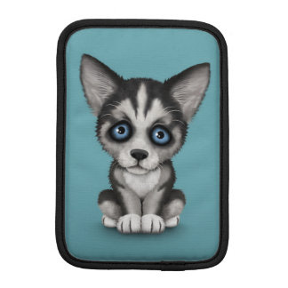 Cute Siberian Husky Puppy Dog on Blue iPad Mini Sleeve