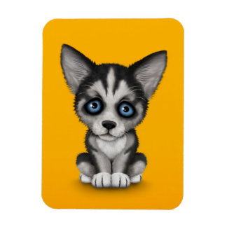Cute Siberian Husky Puppy Dog on Yellow Magnet