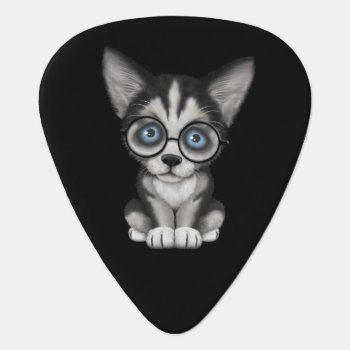 Cute Siberian Husky Puppy Wearing Glasses Black Guitar Pick by crazycreatures at Zazzle