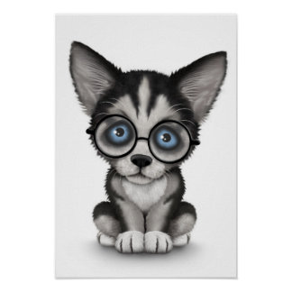 Cute Siberian Husky Puppy Wearing Glasses White Poster