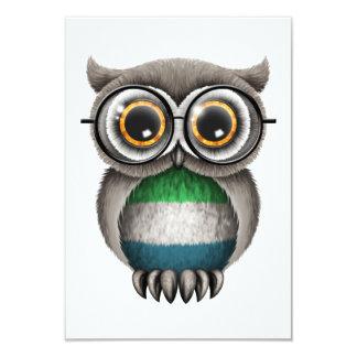 Cute Sierra Leone Flag Owl Wearing Glasses Card