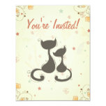 Cute Silhouette Mom and Kitten Cats Baby Shower 4.25x5.5 Paper Invitation Card