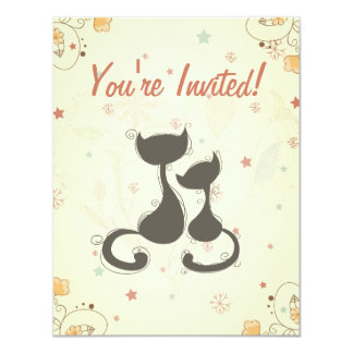 Cute Silhouette Mom and Kitten Cats Baby Shower Card