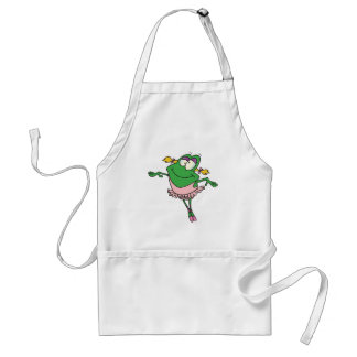 cute silly ballerina ballet froggy frog adult apron