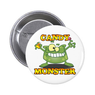 cute silly candy monster cartoon for halloween pinback button