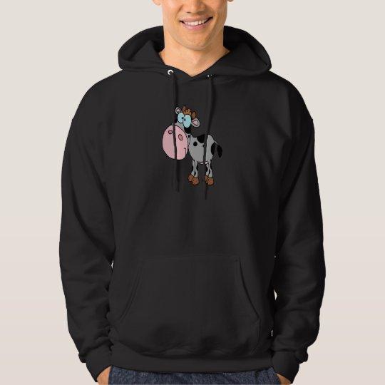 cute silly cartoon baby cow calf gray hoodie