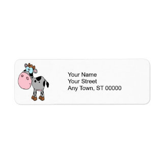 cute silly cartoon baby cow calf gray label