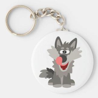 Cute Silly Cartoon Wolf Keychain