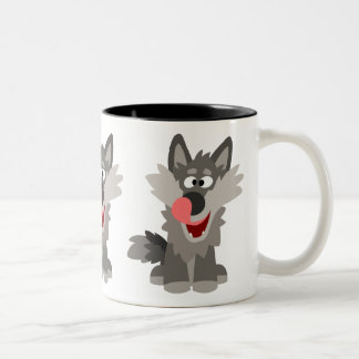 Cute Silly Cartoon Wolf Two-Tone Coffee Mug