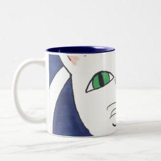 CUTE SILLY CAT Two-Tone COFFEE MUG