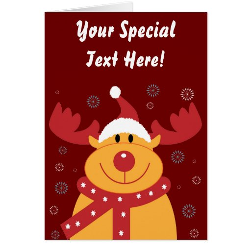Cute Silly Christmas Reindeer! (Customize It!) Greeting Card