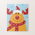 Cute Silly Christmas Reindeer! (Customize It!) Jigsaw Puzzle