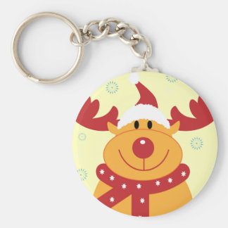 Cute Silly Christmas Reindeer! (Customize It!) Keychain