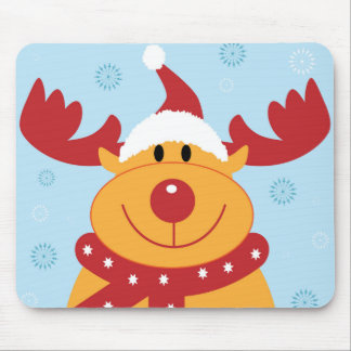 Cute Silly Christmas Reindeer Customize It Mouse Pads