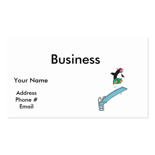 cute silly diving penguin business card